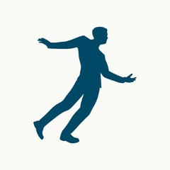 Drunkard young businessman walking. Social problem concept