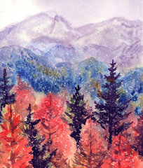 Autumn watercolor landscape with mountains and forest with snow