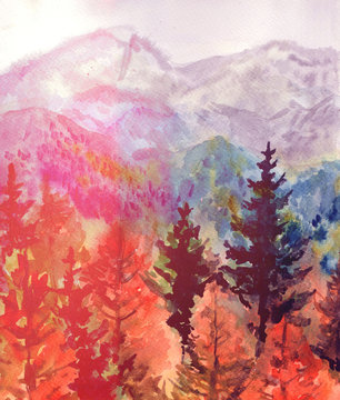 Autumn watercolor landscape with mountains and forest