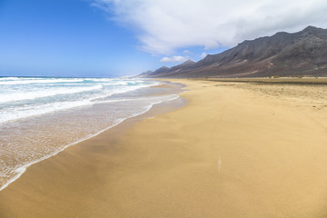 Wide and endless Cofete beach on Fuerteventura