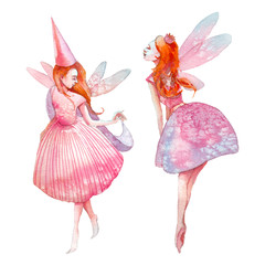 Watercolor fairy illustration. Hand painted red hair fairytale characters isolated on white background. Cartoon girls with wings art