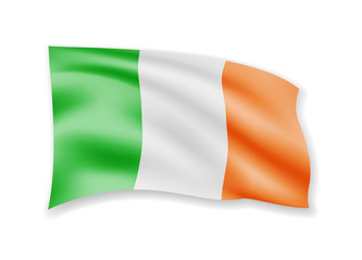 Waving Ireland Flag on white. Flag in the Wind.