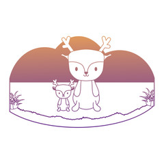 cute deers in the grass over white background, vector illustration