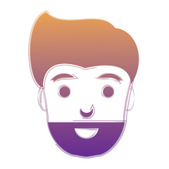 cartoon man with beard over white background, vector illustration