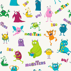 Cartoon monsters. Seamless pattern