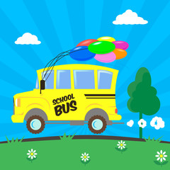 colorful vector simple flat illustration of a cartoon school bus with colored  balloons