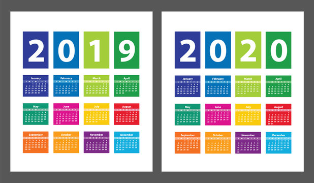 Color Calendar 2019 and 2020 starting from Sunday. Vector illustration
