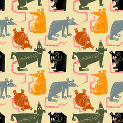 Rats and mouse seamless pattern. Background with cute rodents characters. Vector design element