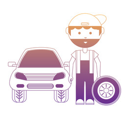 cartoon mechanic with car wheel and car over white background, vector illustration