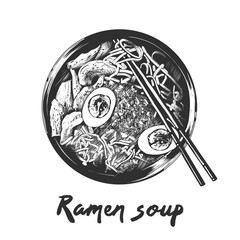 Vector engraved style illustration for posters, decoration and print. Hand drawn sketch of ramen soup in monochrome isolated on white background. Detailed vintage woodcut style drawing.