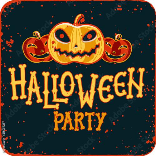 Invitation to halloween night party vintage card with pumpkins on invitation to halloween night party vintage card with pumpkins on dark background template stopboris Choice Image