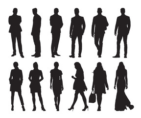 Group of business people silhouettes. Set of business men and women in many poses