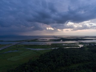Storm at sunset on Mobile Bay along Alabama Gulf Coast