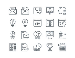 Simple line icon set of Business element for website mobile app and more .Editable Stroke.