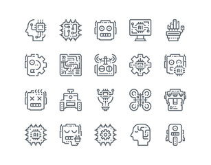 Detailed  line icon set of Robot for website mobile app and more .Editable Stroke.