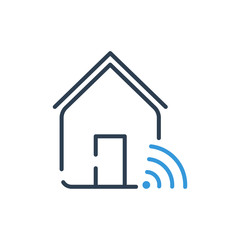 Line art Vector icon. smart home connection