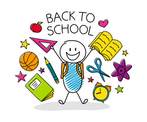 Welcome back to school - concept with funny cartoon character. Vector.