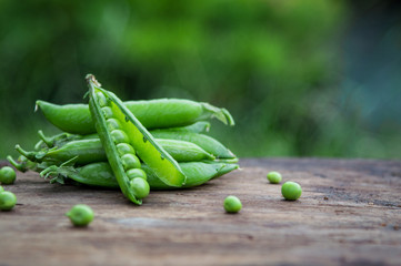 Pea pods on the background of nature