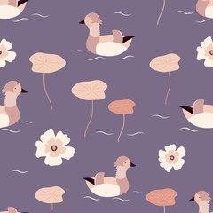 Beach tropical seamless pattern with mandarin ducks
