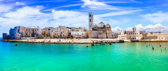 Poster Green coral Molfetta - coastal town in Puglia with beautiful sea and beaches. Italian summer holidays