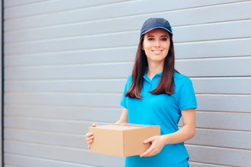 Delivery Worker Holding Cardboard Box Package
