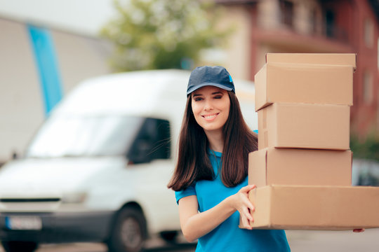 Distribution Service Delivery Worker Holding Many Cardboard Packages