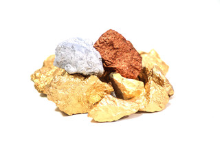 group of precious stones on white background