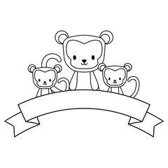 cute monkeys and decorative ribbon over white background, vector illustration