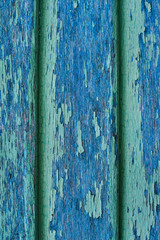 Wooden wall with green and blue paint is severely weathered and peeling. Cracked paint wooden wall. Wood slats rustic shabby empty background. Paint peeled weathered surface. Grunge facade wallpaper.