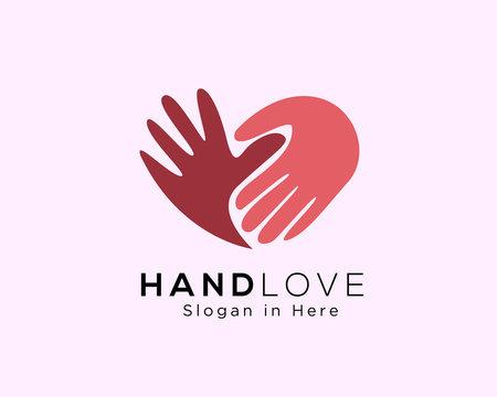 hand love logo, love care logo, heart care logo