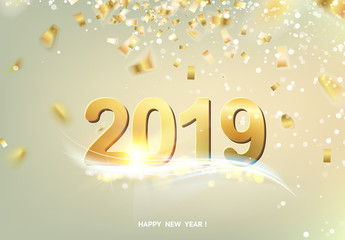 Happy new year card over gray background with golden confetti. Text sign 2019 year. Vector illustration.