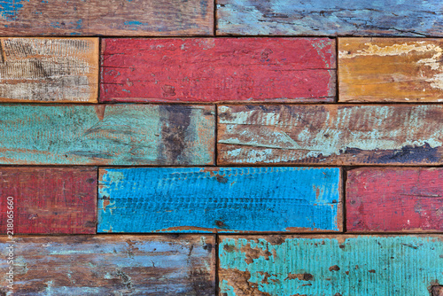 Room Interior Vintage With Colorful Wooden Tiles Art Of Color On Wall Weathered Painted Wood