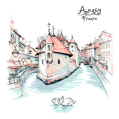 Vector colour drawing, city view of old city of Annecy, Venice of the Alps, France.