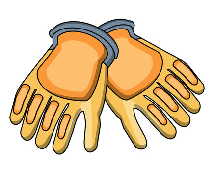 construction gloves icon over white background, vector illustration