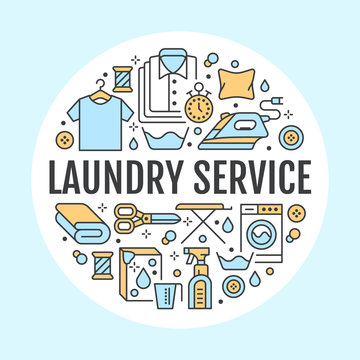 Dry cleaning, banner illustration with flat line icons. Laundry service equipment, washing machine, clothing shoe repair, garment steaming. Circle template thin linear signs launderette poster