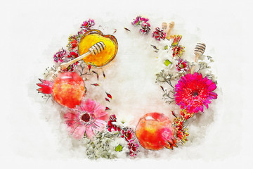 watercolor style and abstract image of Rosh hashanah (jewish New Year holiday) concept. Traditional symbols.
