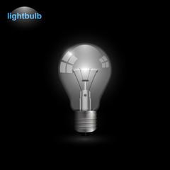 Realistic transparent lightbulb turned on. Light bulb vector illustration isolated on black background.