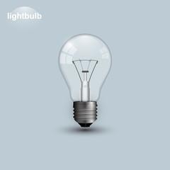 Realistic transparent lightbulb turned off. Light bulb vector illustration isolated on gray background.