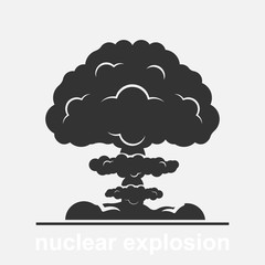 Nuclear explosion vector illustration isolated on white background. International day against nuclear tests.