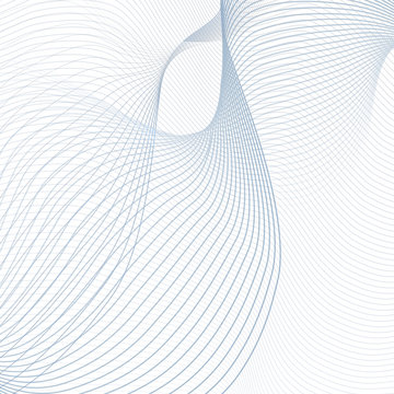 Abstract technology line art design. Curved blue waveforms on white background. Futuristic concept. Template with creative waving undulating lines. EPS10 illustration