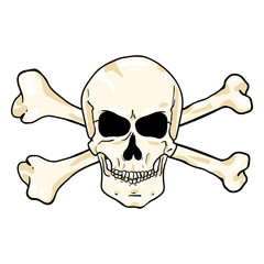 Vector Cartoon Pirate Symbol - Skull with Cross Bones