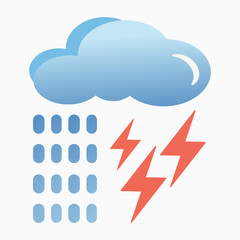 Blue cloud with lightning and rain icon. Cartoon illustration of clouds with lightning and rain vector icon for Internet. Application on t-shirts, bags. Isolated on a light background.