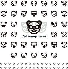 Line cat emoji faces