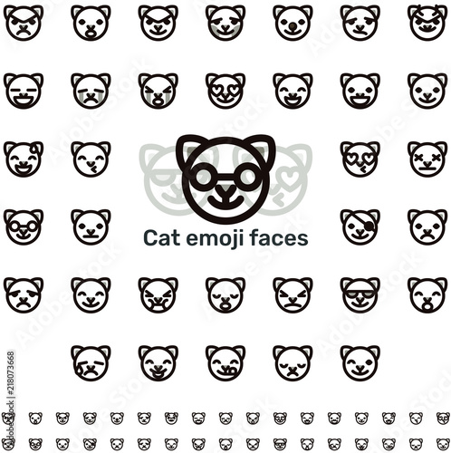 Line Cat Emoji Faces Stock Image And Royalty Free Vector Files On