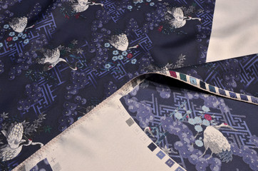 Silk twill fabric with a picture of cranes