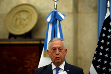 U.S. Secretary of Defence James Mattis attends a news conference at Libertador Building in Buenos Aires