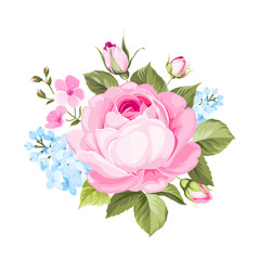 The rose elegant card. A spring decorative bouquet of roses flowers. Small floral garland. Vector illustration.