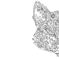 Wild beautiful fox head hand draw on a white background. Color book. Fashion in a vector illustration