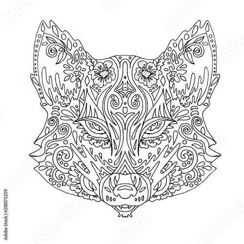 Wild beautiful fox head hand draw on a white background. Color book ...