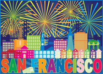San Francisco Skyline Trolley Fireworks Color vector Illustration